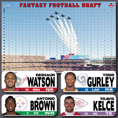Fantasy Football Draft Kit 2018 - Draft Board & Player Labels - ALWAYS Updated!