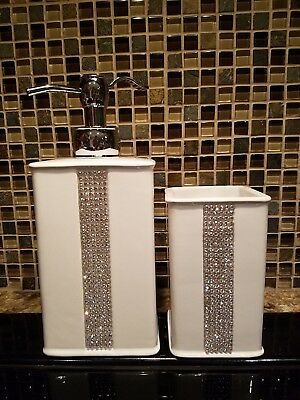 2 Bella Lux Style White Porcelain Crystal Rhinestone Bathroom Accessory Set Soap