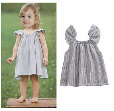 Baby infant girls clothes summer casual dress cotton striped holiday daily dress