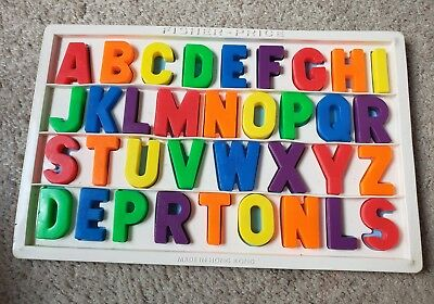 fisher price magnetic alphabet board tray letters vintage blue complete