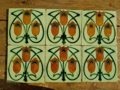 Set of 6 Corn Brothers art nouveau tiles