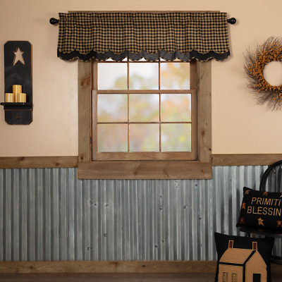 Black Check Scalloped Layered Country Cottage Lined Window Valance
