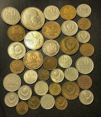 Old Soviet Union/CCCP Coin Lot - 1936-Cold War - 36 Excellent Coins - Lot #711
