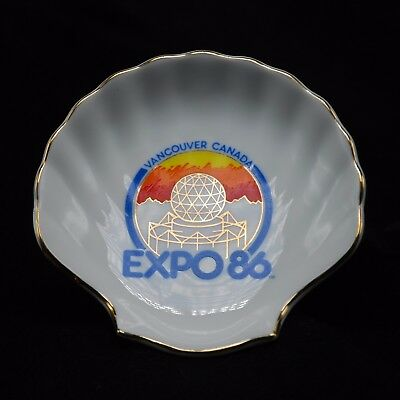 Worlds Fair Porcelain Shell Expo 1986 Vancouver Canada White w/ Gold Trim Vtg