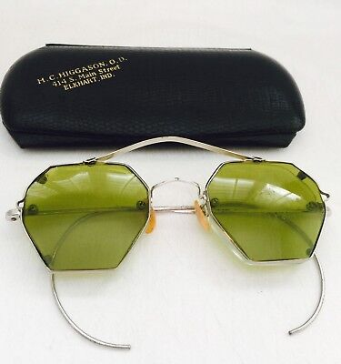 Antique Silver Tone ART DECO Looking & CLIP ONS Eyeglasses Spectacles with Case