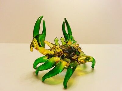 Colorful Crab2 Figurine Art Hand Blown Clear Glass Mini Collect Animal Deco Gift