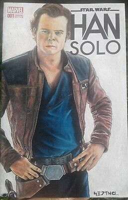 Han Solo 1 blank sketch cover star wars variant art Chrisp color pencil w/ COA