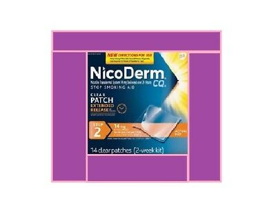 NicoDerm CQ Nicotine Patch, Clear, Step 2 Quit Smoking 14mg 14 Count EXP. 05/18
