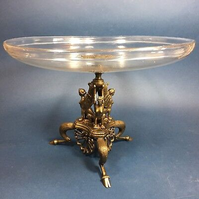 Rare Antique 19th C French Crystal Compote Bronze Sphinx Mythic Art Nouveau Bowl