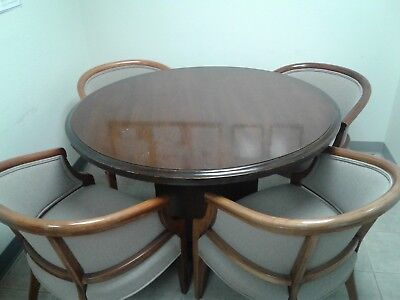 Round Dining Room Table and 4 Chairs - Dark Mahogany Color - Light Beige Fabric