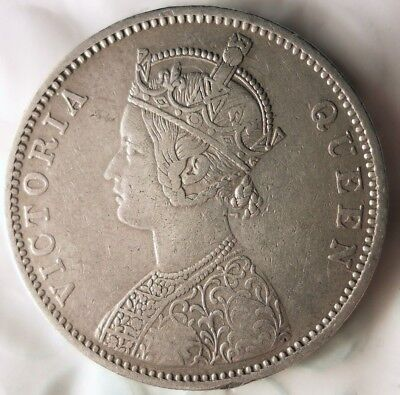 1876 BRITISH INDIA RUPEE - VERY High Quality Early Date Silver Coin - Lot #711