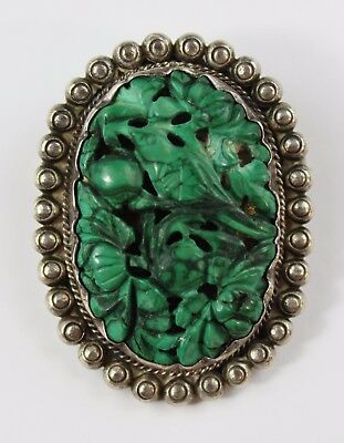 Vintage Chinese Carved Genuine Turquoise With Silver Brooch