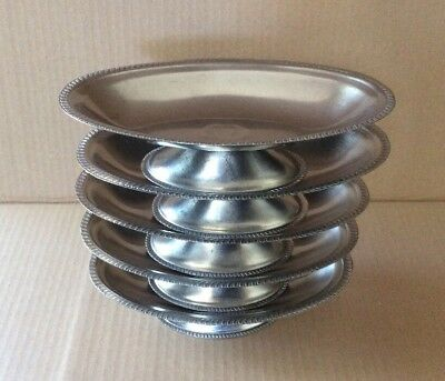 Set of 5 Vintage DFC 18-8 Stainless Steel JAPAN Small Tray/ Plate With Footed