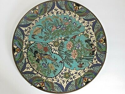 Antique JAPANESE 19th C. Cloisonne Charger Decorated with Birds Flowers