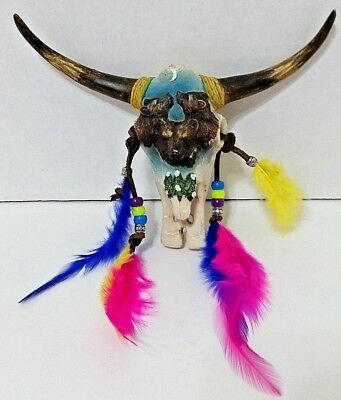 Buffalo Skull W/3 Wolves & Forest Wall Hanging - Hand Painted W/Feathers/Beads
