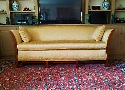 Mahogany & Upholstered Gold Damask Nelson Sofa #628 By Biggs Furniture Company