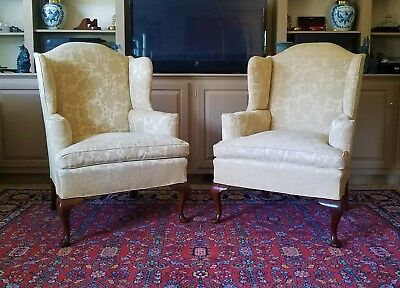 Pair Of Mahogany Upholstered Queen Anne Wing Chairs #119 Biggs Furniture Company