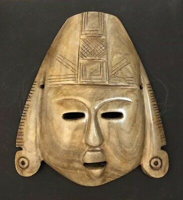 """Vintage Mexican Mayan Aztec Stone Carved Mask Life Size 10"""""""