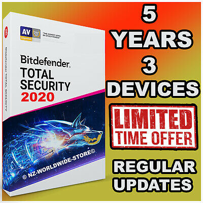 Bitdefender Total Security 2019 / 2020 - 5 Years  3 Devices Activation  Download