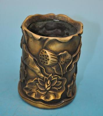 chinese old copper hand-carved lotus brush pot /qianlong mark e01