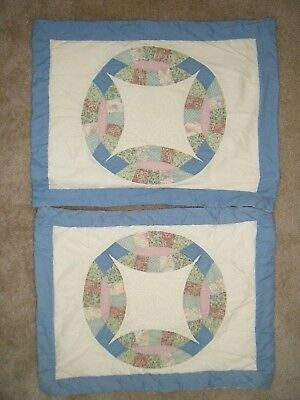 Vtg Primitive Quilted Pastel Country Shabby Cottage Chic Farmhouse Pillow Shams