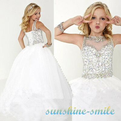 Stock Girls Fashion Dress Princess Kids Crystal Pageant Party Party Ball Gowns