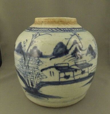 Antique Chinese Export Porcelain Canton Blue and White Ginger Jar 19th Century