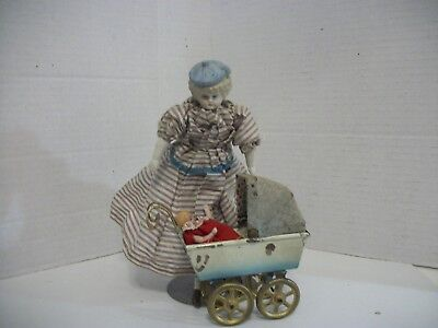 Antique German Bisque molded Head Doll w/ German Tin Carriage & Bisque Baby!!