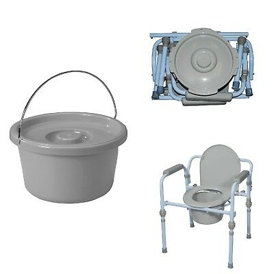 Folding Adult Commode Seat Potty Travel Adjustable Legs Steel Frame Chair Back