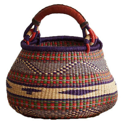 Red and Purple Handled African Bolga Market Home Decor Basket Handwoven Home Dec