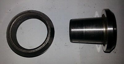 """South Bend 5/5C Collet Adapter, 2 1/4""""-8TPI Thread Protector, and 16 Collets"""