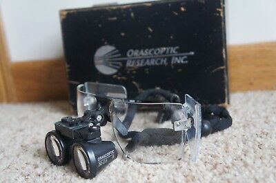 Orascoptic Research 3D-2.6 R Dental Surgical Flip-Up Loupes w/ Wooden Case Box