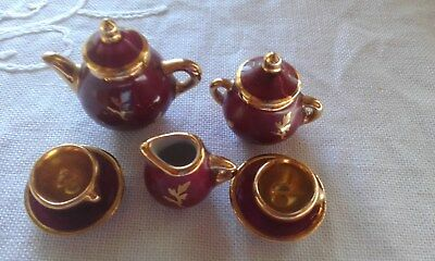 Miniature Limoges Tiny Tea Set For Display Cabinet Or Dolls House