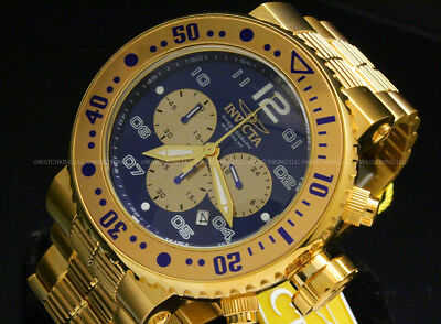 "New Invicta Men's 52mm Pro Diver ""COMBAT SEAL"" 18 K Gold Plated Chrono S.S Watch"