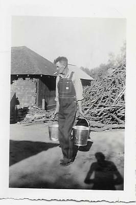 Vintage 1930's Photo Man Farmer Jean Overalls Carries Buckets HUGE Pile Branches