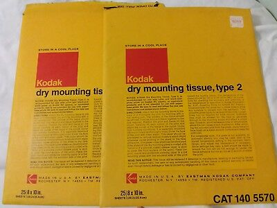 1960's Vintage Old KODAK DRY Mounting Tissue Type 2 (43) pages of 8x10