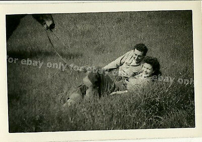 Vintage Old 1940's Photo Romantic Couple Woman on Horse Ride Rests in the Grass