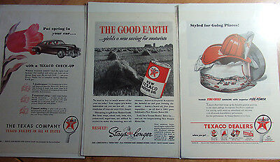 Lot Of 3 Boarded 1932, 40, 47 Texaco Motor Oil & Gasoline Advertisements