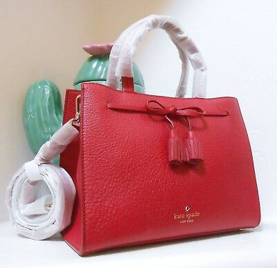 39d3fd17e9ef NWT Kate Spade Hayes Street Small Isobel Pebble Leather Bag Rosso NEW  328