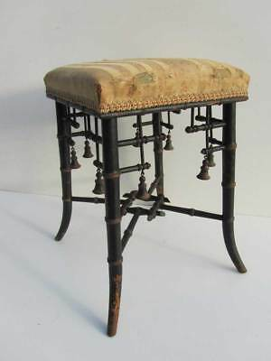 Faux Bamboo French Napoleon III Chinoiserie ebonized and gilt Stool/ Seat, 1850
