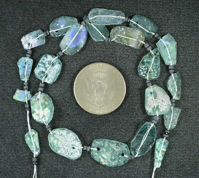 Ancient Roman Glass Beads 1 Medium Strand Aqua And Green 100 -200 Bc 922