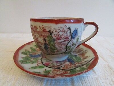 Vintage Japanese Egg Shell Hand Painted Geisha Cup & Saucer