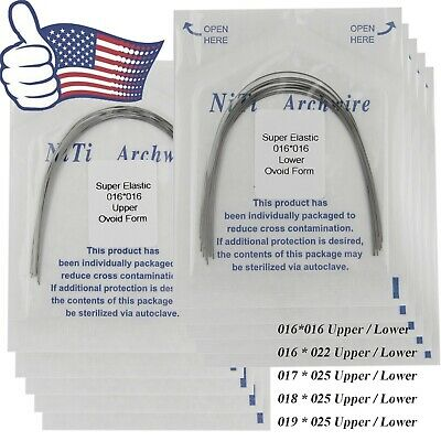 USA 100pcs Orthodontic Niti Arch Wire Elastic Ovoid Form Upper Lower Rectangular