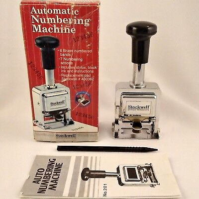 Stockwell Automatic Numbering Machine w/ 6 Digits - in Box