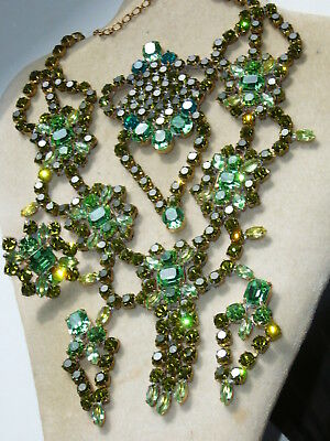 NICE VINTAGE 1960s ANTIQUE CZECH RHINESTONES LOT OF JEWERLY MIX *SIGNED*   T378