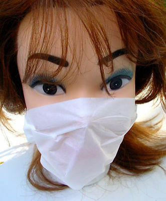 NEW 96 x DISPOSABLE DUST FACE MASKS UNISEX WHITE 2-PLY PAPER CLEANING DIY MASK
