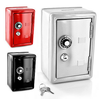 Safe Money Box Bank Metal 2 Keys With Combination Lock Coins Cash Security Piggy
