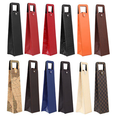 Red Wine Bottle Bags Gift Box Packaging Leather Foldable Portable Fashion