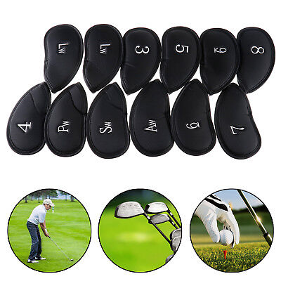 12PCS PU Leather Golf Iron Head Covers Club Putter Headcovers 3-SW Set 16*8cm