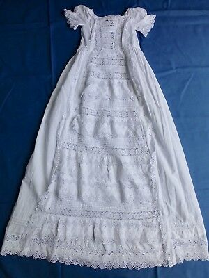 Antq 1880s Victorian princess-line lace babys christening dress robe gown